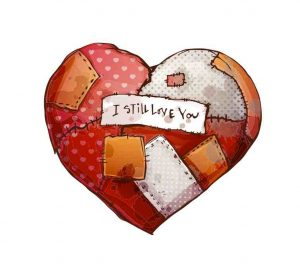 patchwork heart drawing with the message,