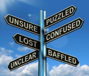 puzzled, unsure, and lost sign post