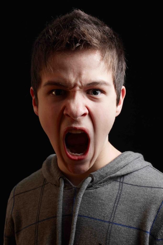 angry teen boy