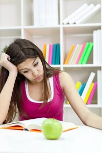 girl stressed studying